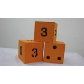 A Set of Three Dice – one domino, one numeral with dots and one only numeral